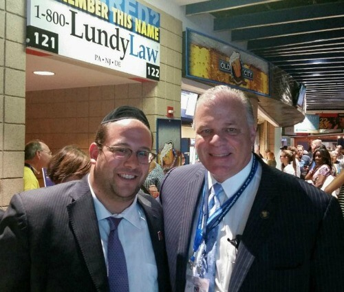 Rabbi Avi Schnall with New Jersey Senate President Stephen M. Sweeney (D-3rd District)