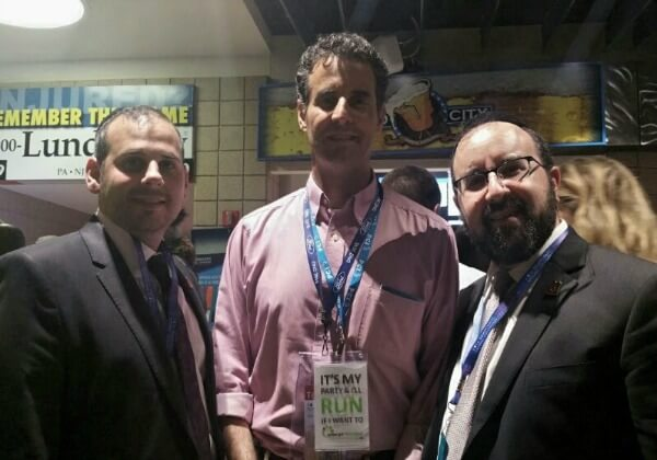 (L to R) Aryeh Malitzky, Congressman John Sarbanes (D-MD 3rd District), Rabbi Ariel Sadwin at the DNC