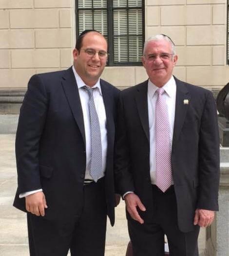 Rabbi Avi Schnall, Agudath Israel's NJ director; Assemblyman Gary Schaer (D-36)