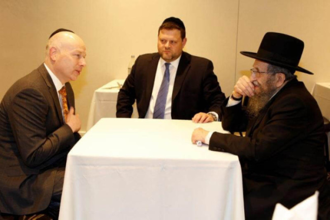 Jason Dov Greenblatt (executive vice president and chief legal officer of The Trump Organization and co-chair of Donald Trump's Israel Advisory Committee), meeting with Rabbi Shmuel Kamenetsky (member of Agudath Israel's Council of Torah Sages), and Mr. Chaskel Bennett (member of the board of trustees, Agudath Israel of America)