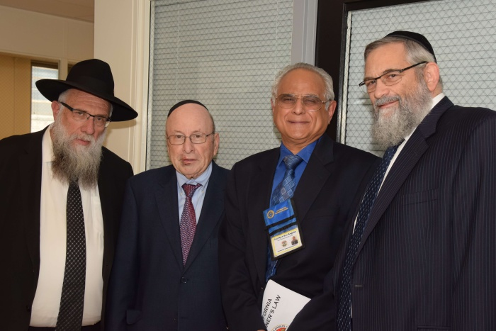 L to R:  Rabbi Goldenberg, Stanley Treitel,  Dr. Sathyavagiswaran, Dr. Lebovics. Dr.Sathyavagiswaran is the Los Angeles County Chief Medical Examiner