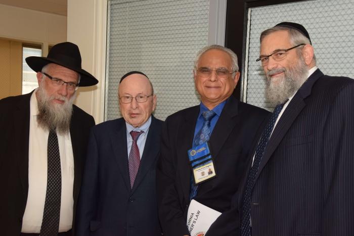 L to R:  Rabbi Goldenberg, Stanley Treitel,  Dr. Sathyavagiswaran, Dr. Lebovics. Dr.Sathyavagiswaran is the Los Angeles County Chief Medical Examiner