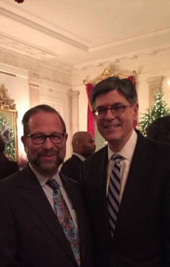 Agudath Israel board of trustee member Leon Goldenberg with US Secretary of the Treasury Jack Lew