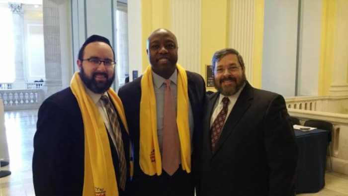 Rabbi Ariel Sadwin, Senator Tim Scott (R-S.C.), and Rabbi Abba Cohen at a previous National School Choice Week in Washington, DC.