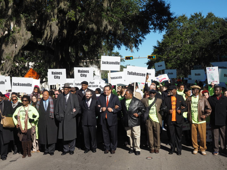Martin Luther King III, Reverend R.B. Holmes, Rabbi Moshe Matz (Agudath Israel), Julio Fuentes (Hispanic CROEO), leading 11,000 students and families at the historic school choice rally in Tallahassee, Florida, one year ago.