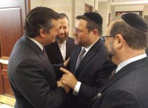 Senator Ted Cruz (R-TX), Ezra Friedlander, Chaskel Bennett, Leon Goldenberg