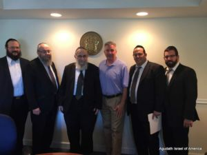 Avi Schnall and school leaders from Lakewood NJ, meeting with Assemblyman Dave Rible, member of the Assembly education committee.