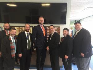 Rabbi Yitzchok Ehrman, Rabbi Shlomo Soroka, Rabbi Menachem Kirshner, assistant principal, Treasurer Frerichs, Rabbi Eli Samber, Principal, Moshe Davis, Jeremy Amster after a tour of Arie Crown Hebrew Day School.