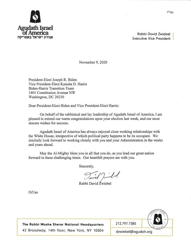 Agudath Israel Congratulatory Letter To President Elect Biden Agudath Israel Of America